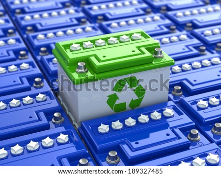 Car battery recycling. Green energy. Background from accumulators. Green recycling sign. 3d - stock photo