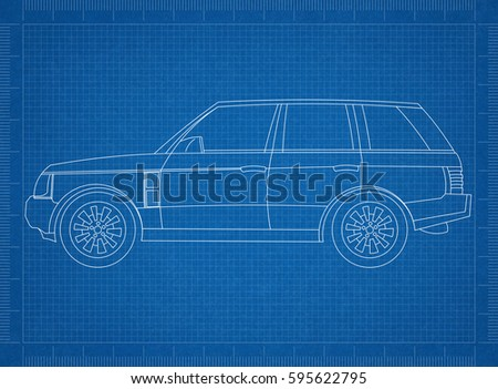 Design electric car drawing on blueprint stock vector 709001878 car blueprint malvernweather Image collections