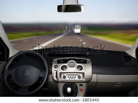 Car board on the highway - stock photo