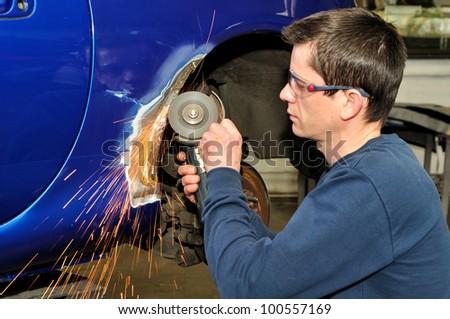 Car body work. - stock photo