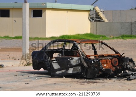 Car bomb terrorism - stock photo