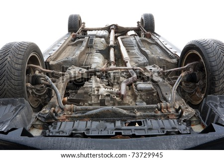 car bottom, turned upside-down after road collision - stock photo