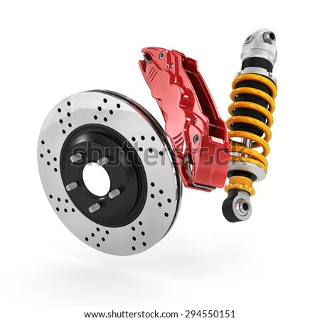 Car brakes with absorbers. - stock photo