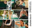 car breakdown collage outdoor - 6 images - stock photo