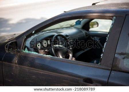 Car broken window - stock photo