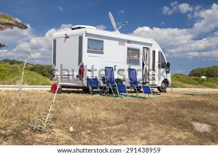 car caravan modern - stock photo