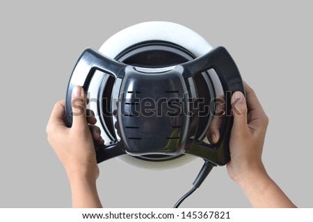 Car care with power buffer machine . CAR CARE images closeup Useful as background for design-works. - stock photo