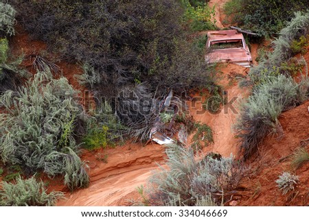 Car caught in flash flood waters, Utah, USA - stock photo