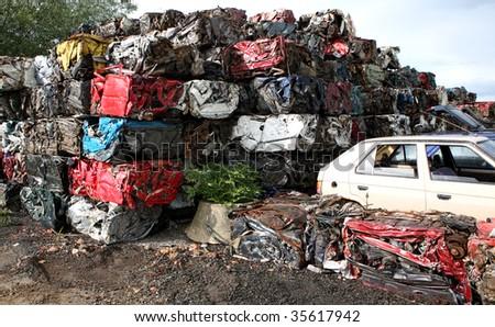car cemetery - stock photo