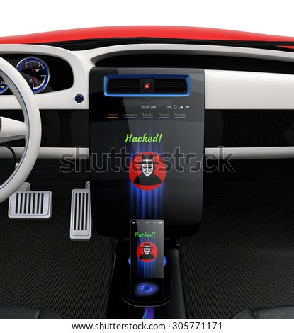 Car center console and smart phone display hacker icon. Concept for cyber crime in Today's car life. - stock photo