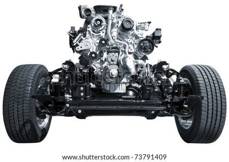 Car chassis with engine - stock photo