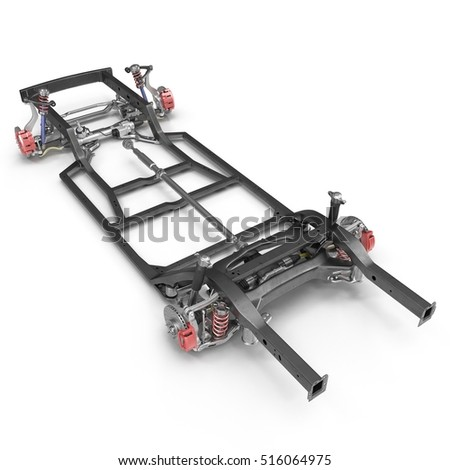 Car chassis without engine on white. 3D illustration
