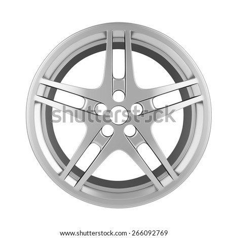 Car Chrome wheel isolated on white background. 3d illustration high resolution - stock photo