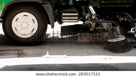 car cleaning the road - stock photo
