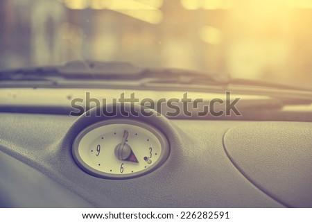 Car clock - stock photo