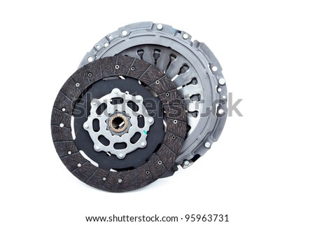 Car clutch and Pressure plate isolated on white.