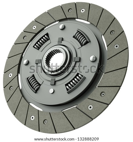 Car clutch plate isolated on a white background. 3D render. - stock photo