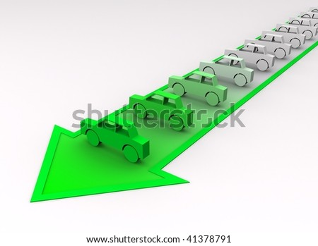 Car concept - cars painted to green color on arrow. - stock photo