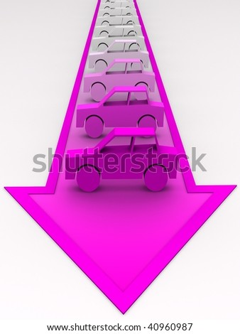 Car concept - cars painted to pink on arrow. - stock photo