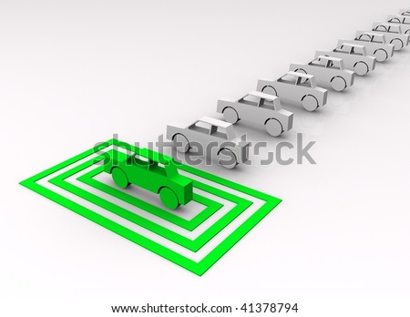 Car concept - green car targeted in squares. - stock photo