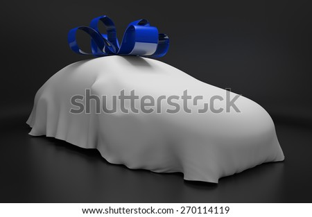 Car concept of a new luxury vehicle under a white covering with a blue ribbon - stock photo