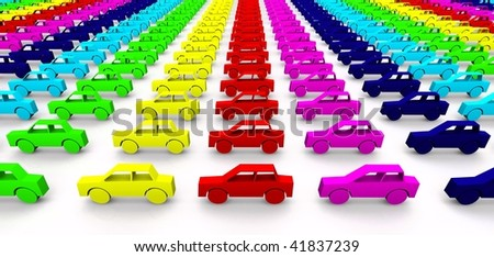 Car concept - toy cars in rainbow colors - stock photo