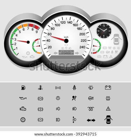 Car control panel interface on light background. Car dashboard icons set. Collection car panel symbol. Speedometer and rev counter shows the speed - stock photo