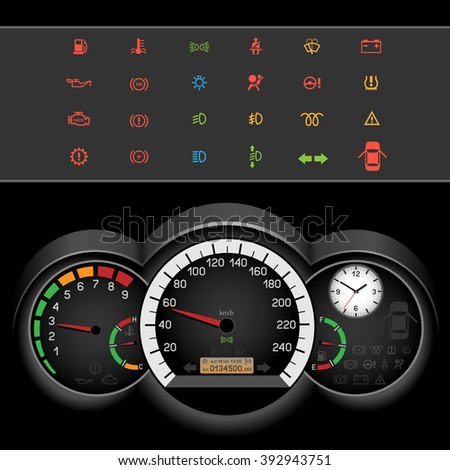 Car control panel night interface on black background. Car dashboard icons set. Collection car panel symbol. Speedometer and rev counter shows the speed - stock photo