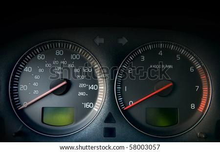 Car control panel. (speedometer tachometer) - stock photo