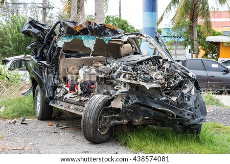 Car crash accident on street, damaged automobiles after collision - stock photo