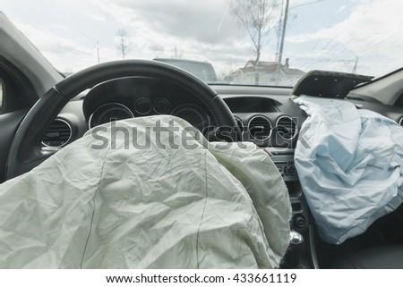 Car Crash air bag, blue, inscription airbag - stock photo
