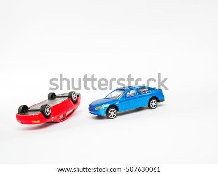 Car Crash Between Red Car Blue Stock Photo (Royalty Free) 507630061 ...