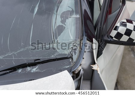 Car crash from car accident on the road in a city wait insurance. - stock photo