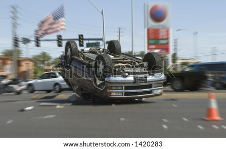car crash in las vegas - stock photo
