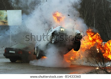 Car crash on iced highway. Stunt - stock photo