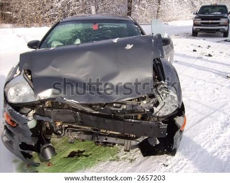 Car Crash on Icy Road - stock photo