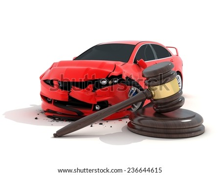 Car crash on white background and law (done in 3d) - stock photo