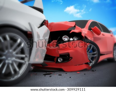 Car crash on white background (done in 3d) - stock photo