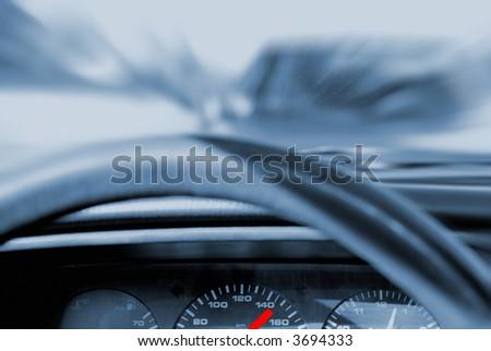 Car crash (toned in blue) - stock photo