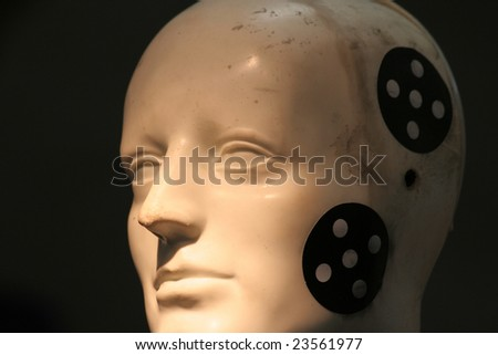 car, crashtest dummy with marks - stock photo