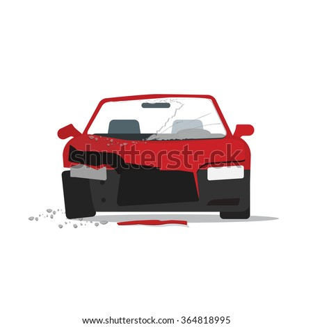 Car crush illustration, crashed auto fragments with glass splinters concept, disaster incident, accident, flat cartoon modern design isolated on white background  image - stock photo