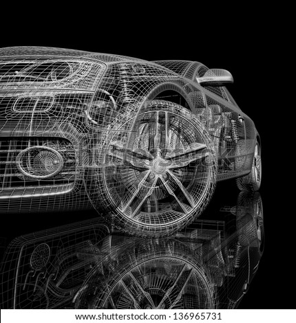 car 3d model on a black background. render image with shine and reflection. Isolated on a black background - stock photo