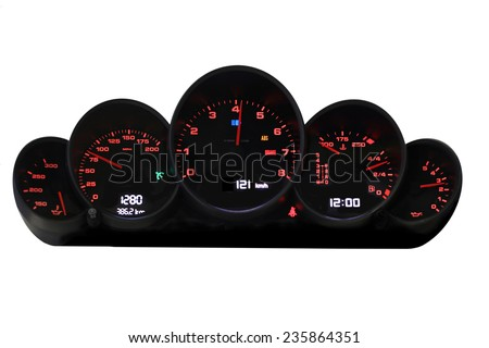 Car dashboard modern automobile control illuminated panel speed display  - stock photo