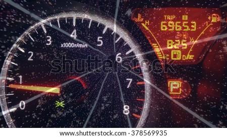 Car dashboard on lighting background. - stock photo