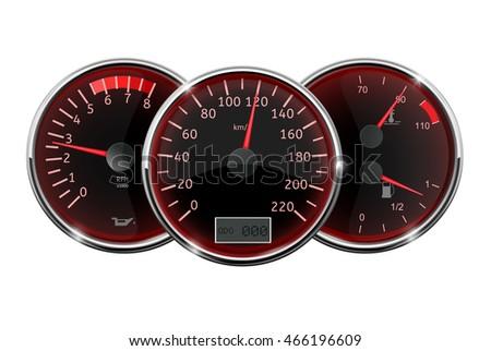 Speedometer Tachometer Fuel Temperature Gauge Vector Stock Vector - Car signs on dashboardcar dashboard signs speedometer tachometer fuel and temperature