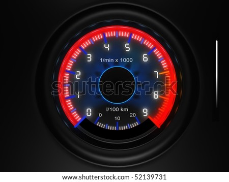 car dashboard tachometer - stock photo