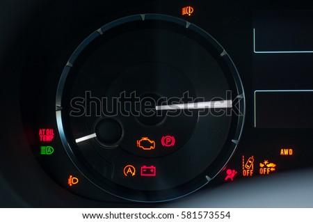 Car Dashboard Warning Lights. Engine Start Moment. System Check.