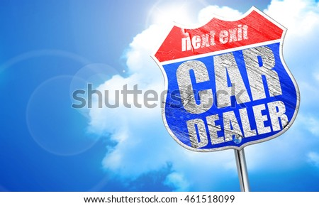 car dealer, 3D rendering, blue street sign