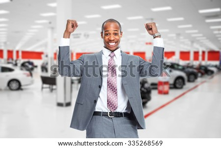Car dealer man. Auto dealership and rental concept background. - stock photo