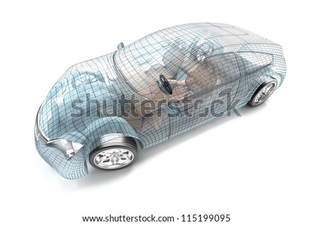 Car design, wire model. My own design. - stock photo